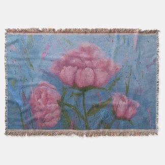 Cobertor Cobertura cor-de-rosa do lance das peônias