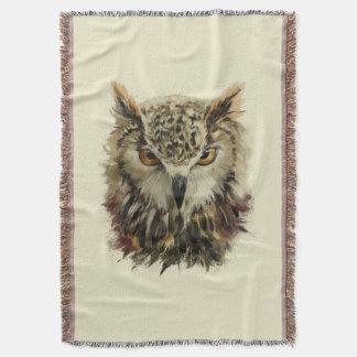 Cobertor Cobertura do lance do Grunge da cara da coruja