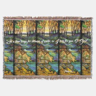 Cobertor Cobertura do lance do salmo dos cervos do vitral