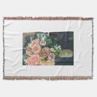 Cobertor Cobertura pintado mão do lance do buquê floral