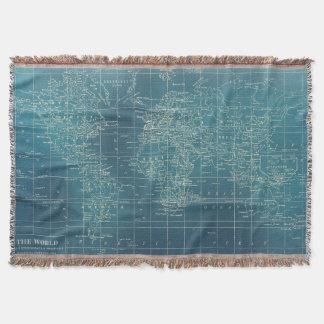 Cobertor Cobertura tecida da cerceta mapa do mundo escuro
