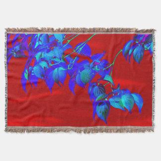 Cobertor Cobertura vermelha do lance das folhas dos