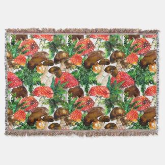Cobertor Cogumelos da aguarela e teste padrão verde da