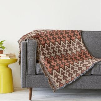 Cobertor Damasco, Brown, Taupe & oxidação de Ikat do