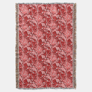 Cobertor Damasco de William Morris, obscuridade - vermelho