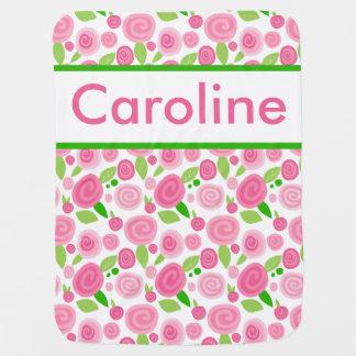 Cobertor De Bebe A cobertura cor-de-rosa personalizada de Caroline