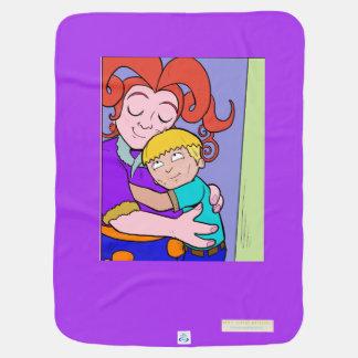 Cobertor De Bebe A mamã e seu menino compartilham de uma cobertura