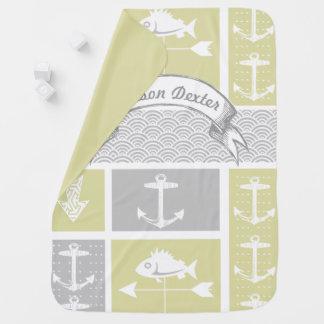 Cobertor De Bebe Aleta de tempo amarela e cinzenta náutica dos
