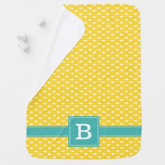 Cobertor De Bebe Amarelo e monograma lunático do teste padrão das