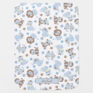 Cobertor De Bebe Animais bonitos da selva do bebê azul
