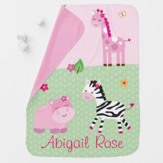 Cobertor De Bebe Animal cor-de-rosa da selva