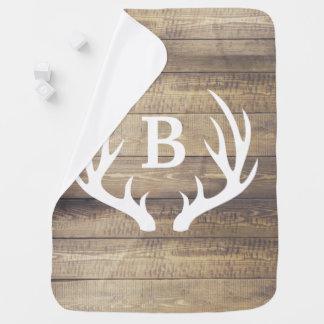 Cobertor De Bebe Antlers brancos & nome dos cervos das pranchas de