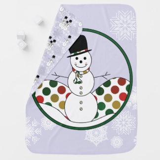 Cobertor De Bebe Arte de Polkadot do boneco de neve do Natal com