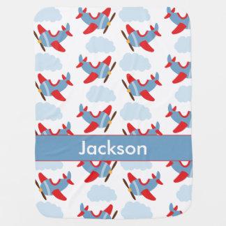 Cobertor De Bebe Aviões personalizados do menino