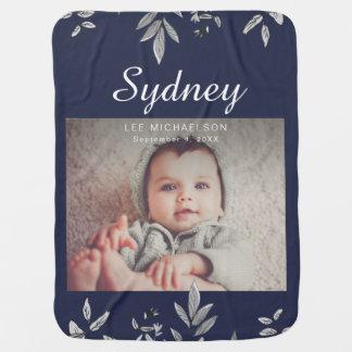 Cobertor De Bebe Azul escuro com botânico e a foto
