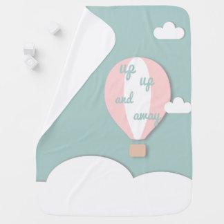 Cobertor De Bebe Balão de ar quente, acima da cobertura cor-de-rosa