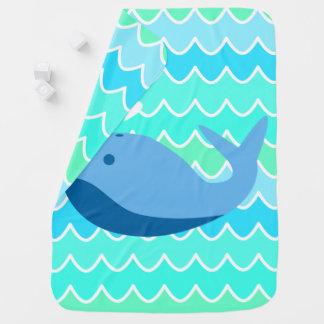 Cobertor De Bebe Baleia azul e cobertura do bebê das ondas