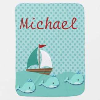 Cobertor De Bebe Baleias bonitos & bebé náutico do veleiro