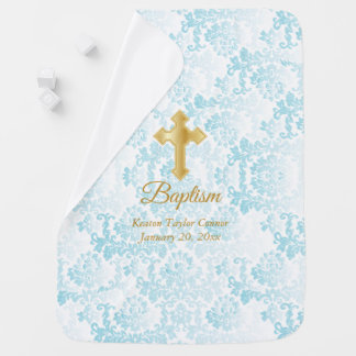 Cobertor De Bebe Baptismo azul bonito do damasco