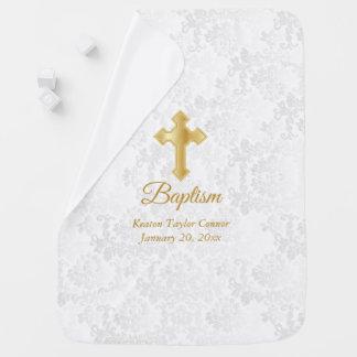 Cobertor De Bebe Baptismo branco bonito do damasco