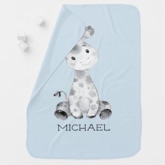 Cobertor De Bebe Bebê personalizado do girafa dos meninos que