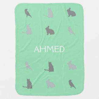 Cobertor De Bebe Bichos nas colinas com nome no verde