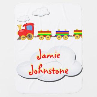 Cobertor De Bebe branco customizável da cobertura do bebê do trem