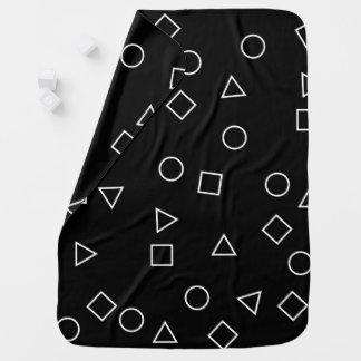 Cobertor De Bebe Branco geométrico minimalista elegante do preto do