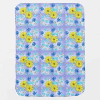 Cobertor De Bebe Buquê da flor do país no azul e no amarelo
