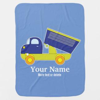 Cobertor De Bebe Camião basculante azul & verde personalizado da