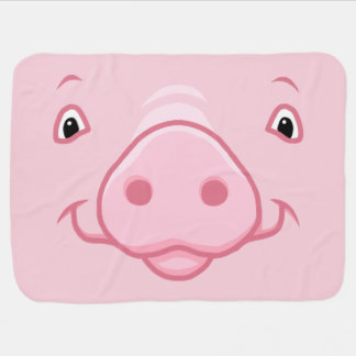 Cobertor De Bebe Cara cor-de-rosa feliz bonito do porco