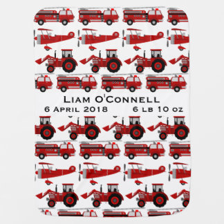 Cobertor De Bebe Carro de bombeiros personalizado, trator, data de