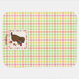 Cobertor De Bebe Cesta personalizada da flor do filhote de cachorro