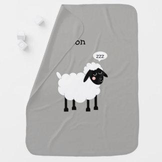 Cobertor De Bebe Cinzas sonolentos dos carneiros personalizadas