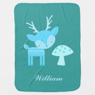 Cobertor De Bebe Cobertura azul do bebê das bolinhas dos cervos