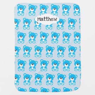 Cobertor De Bebe Cobertura azul do bebê do urso de ursinho