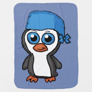 Cobertor De Bebe Cobertura azul do pinguim do Bandana