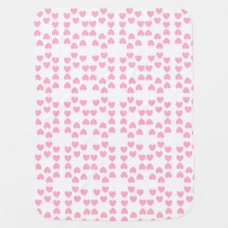 Cobertor De Bebe Cobertura branca cor-de-rosa do bebê dos corações