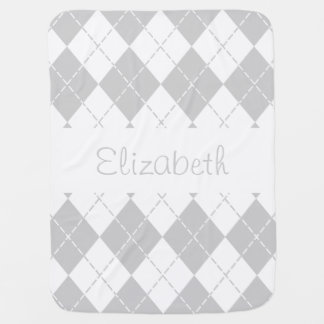 Cobertor De Bebe Cobertura cinzenta e branca do nome do bebê de