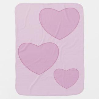 Cobertor De Bebe Cobertura cor-de-rosa do bebê dos corações