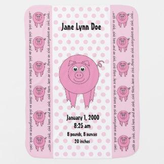 Cobertor De Bebe Cobertura cor-de-rosa personalizada do porco