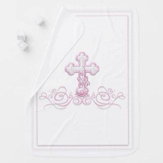 Cobertor De Bebe Cobertura do baptismo da menina com cruz