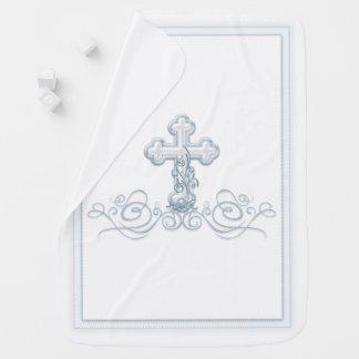 Cobertor De Bebe Cobertura do baptismo do menino com cruz azul