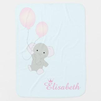 Cobertor De Bebe Cobertura do bebê da menina personalizada elefante