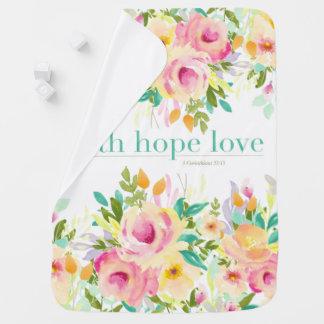 Cobertor De Bebe Cobertura floral do bebê da aguarela do amor | da