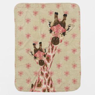 Cobertor De Bebe Cobertura floral do bebê dos girafas cor-de-rosa