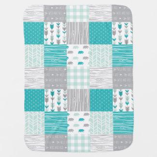 Cobertor De Bebe Cobertura moderna do bebê da floresta da hortelã e