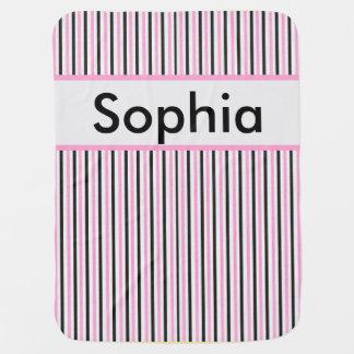 Cobertor De Bebe Cobertura personalizada da listra de Sophia
