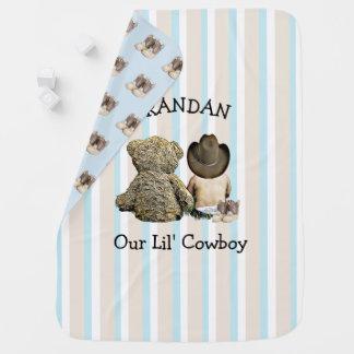 Cobertor De Bebe Cobertura personalizada do bebê do vaqueiro e do