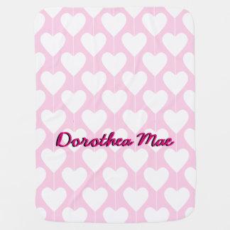 Cobertor De Bebe Cobertura personalizada do bebê dos queridos rosa